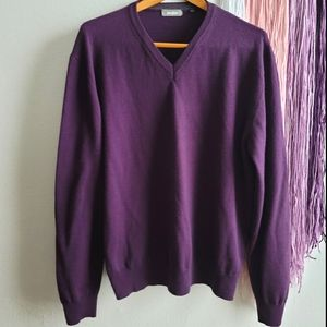 Neiman Marcus Wool Blend V-neck Pullover Sweater